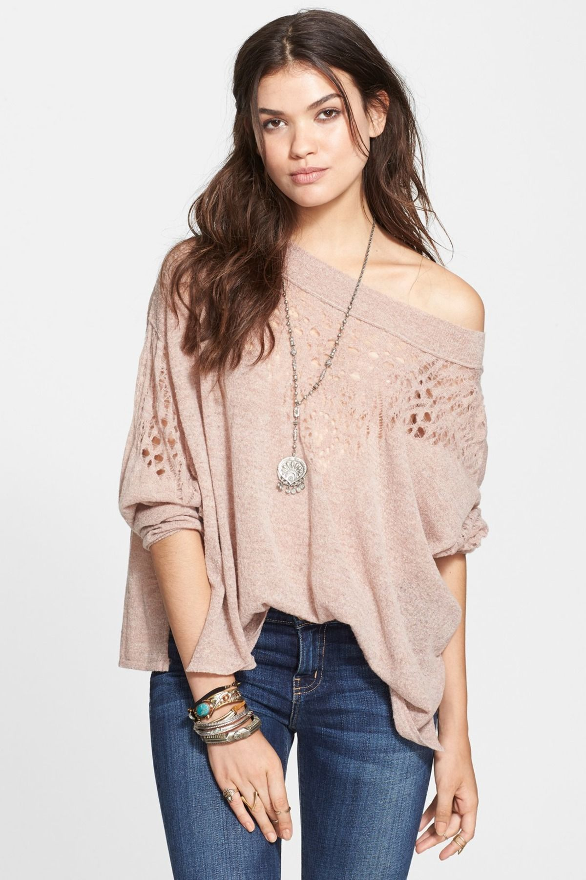 Pointelle Ballet Neck Pullover by Free People