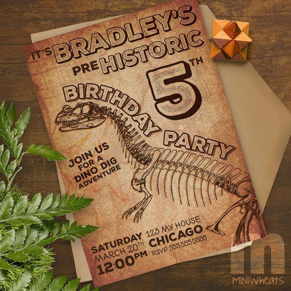 Dinosaur Prehistoric Printable Birthday Party Invitation /
