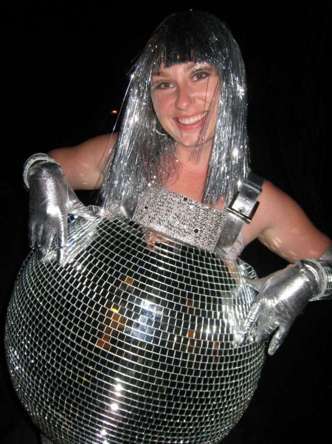 Time to get some glitter! Transfer your belly into a disco ball - funny pregnant halloween costume ideas