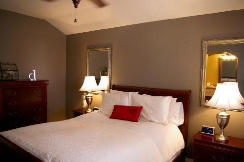Love Mirrors Behind Nightstands Lamps Bedroom Paint Colors