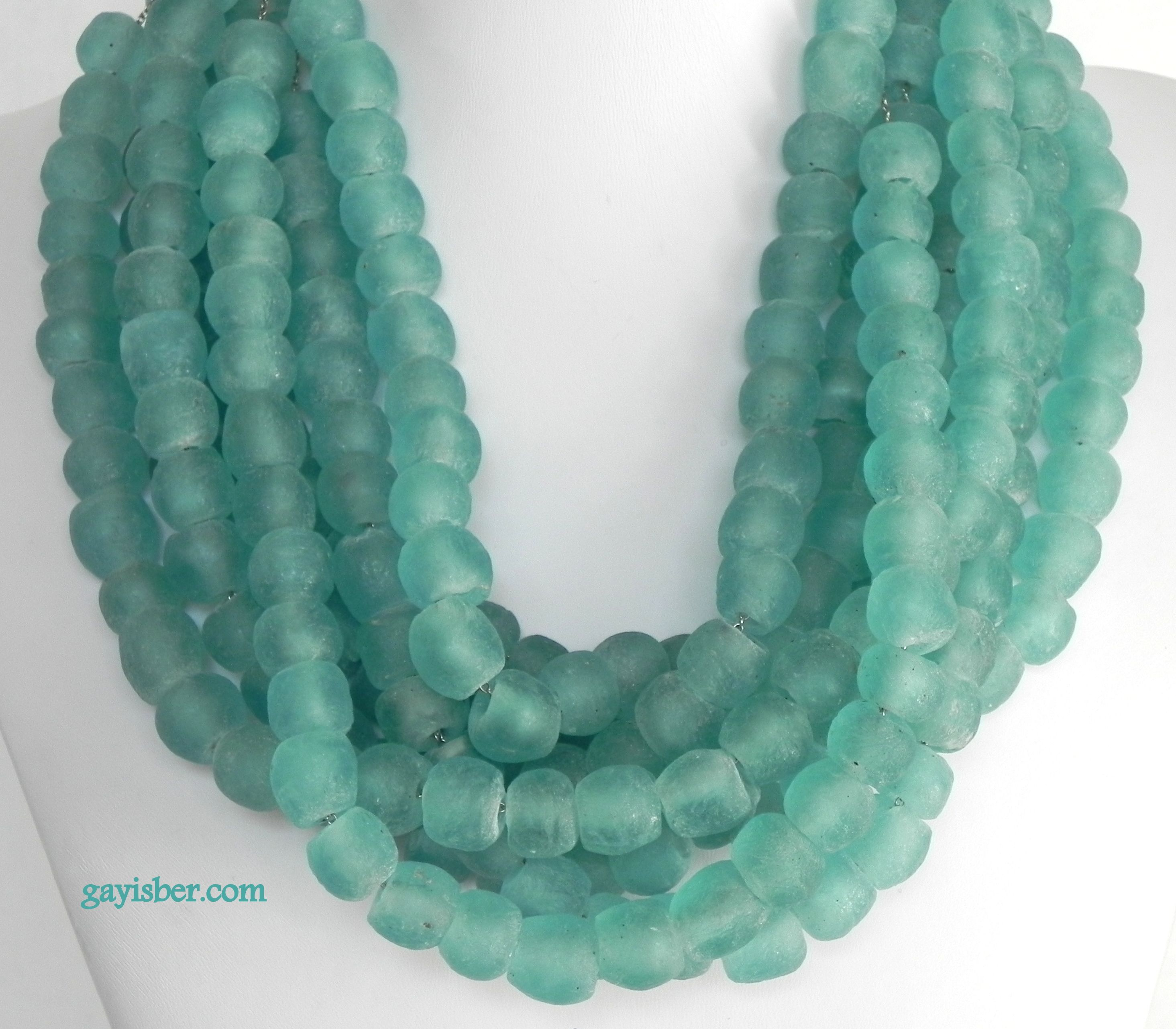 Frosty Aqua necklace by Gay Isber using African recycled glass beads.