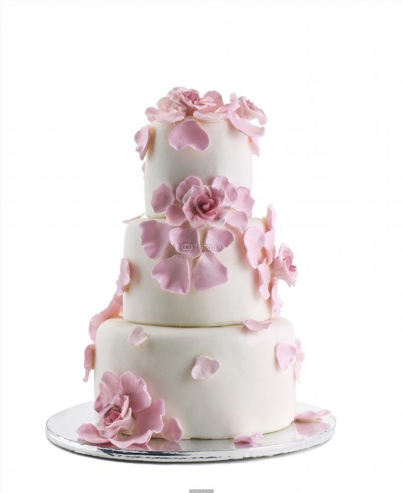 Wedding White Background: Wedding Cake Isolated On White Background Poster