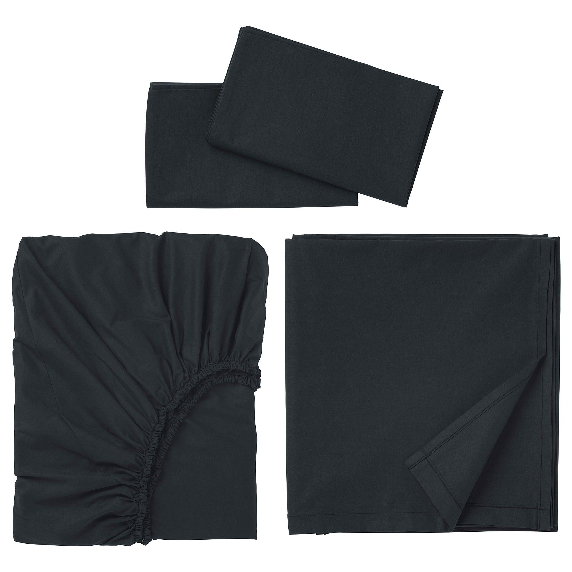 DVALA Sheet set, black, Queen IKEA in 2020 Sheet sets