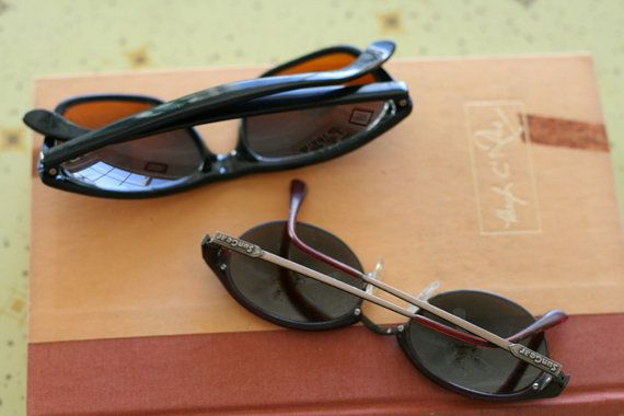 8240ea7979b2 1980s Vintage SUNGLASSES SET.....instant collection. round lens. retro. set  of 2. vintage sunglasses
