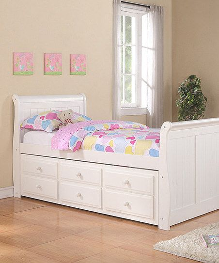 Best White Sleigh Captains Twin Bed Trundle Set Captains 640 x 480