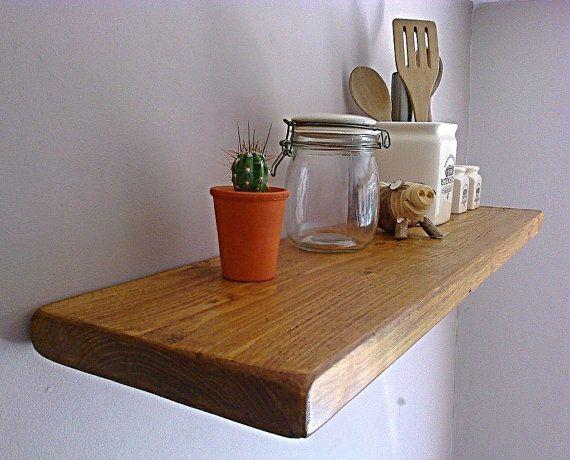 Kitchen floating wall shelf shelves pine oak whites - Rustikale wandregale ...