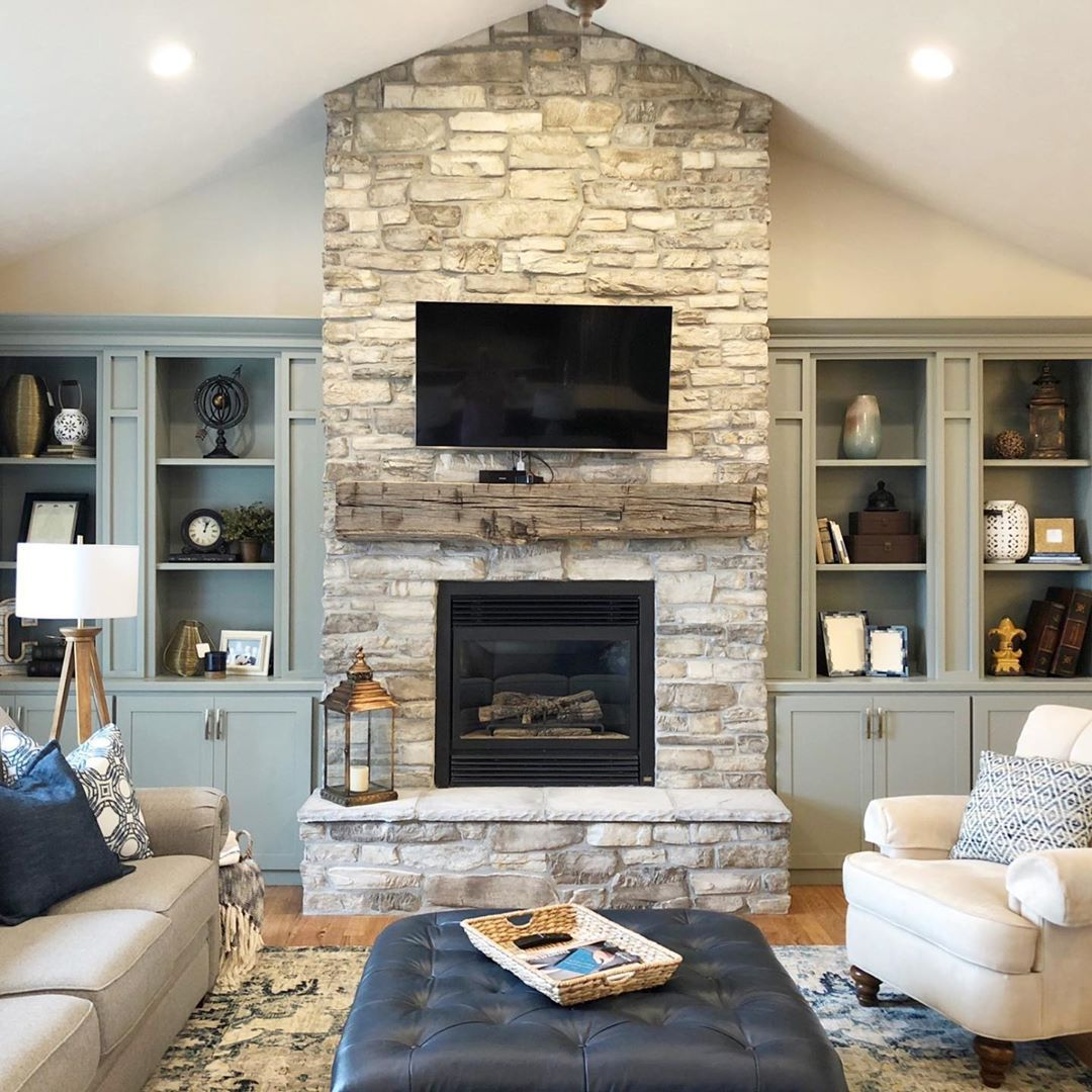 Rustic Modern Living Room With Sage Green Built In Cabinets And Old Growth Reclaimed Timbe Modern Rustic Living Room Fireplace Mantel Designs Built In Cabinets