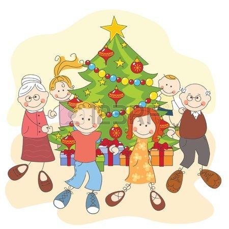 Navidad De La Familia Feliz Bailando Juntos Ilustracion A Mano Dibujo Christmas Drawing Drawing Illustration Drawings