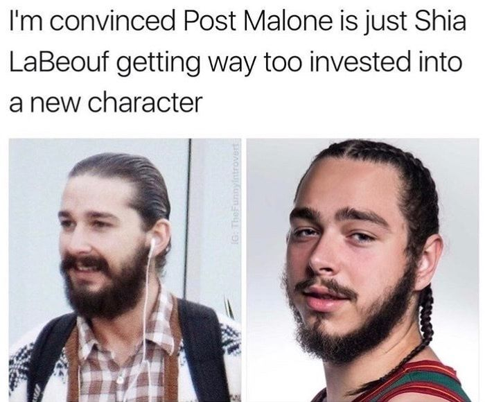 I M Convinced Post Malone Is Just Shia Labeouf Getting Way Too Invested Into A New Character Funny Smile Everything Funny Memes
