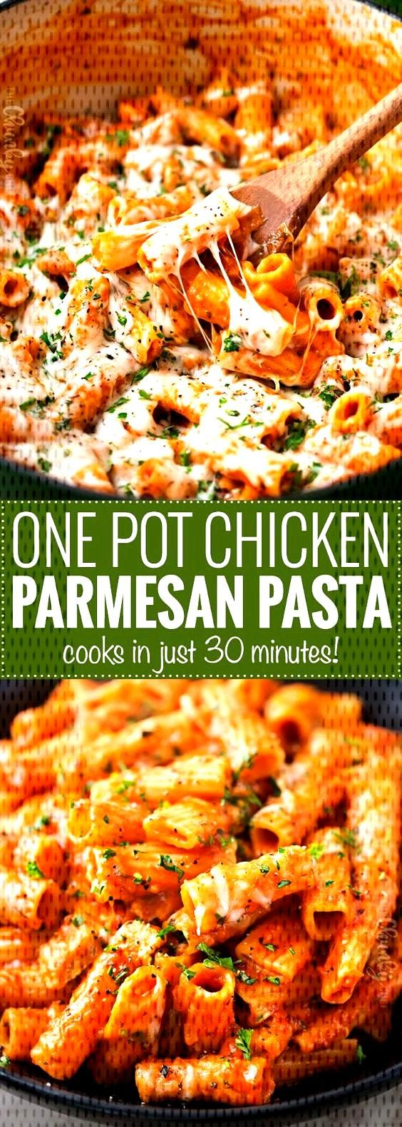 All the great chicken parmesan flavors, combined in one easy one pot pasta dish that's ready in 30