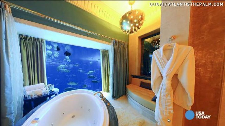 In your dreams: Hotel bathroom has underwater view Beautiful Underwater Bathroom Design on bathroom under the sea, bathroom art underwater, bedroom underwater, living room underwater,