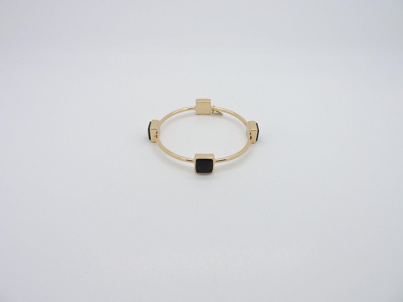 Quad Cage Bangle Bracelet - Black/Gold from Helen's Jewels. #jewelry #bracelet #bracelets #jewelryonpinterest #etsy #etsyjewelry #helensjewels #fashion #style #accessories #bangle #banglebracelet #blackbracelet #blackgem
