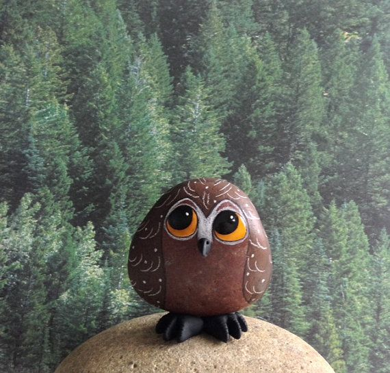 Owl Painted Rock by qvistdesign on Etsy, $16.00