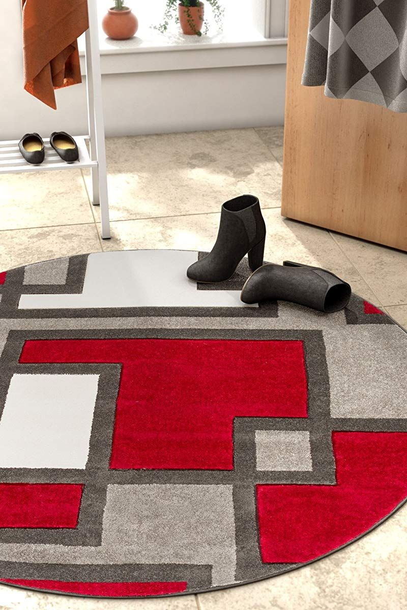 Uptown Squares Red Grey Modern Geometric Comfy Casual Hand Carved
