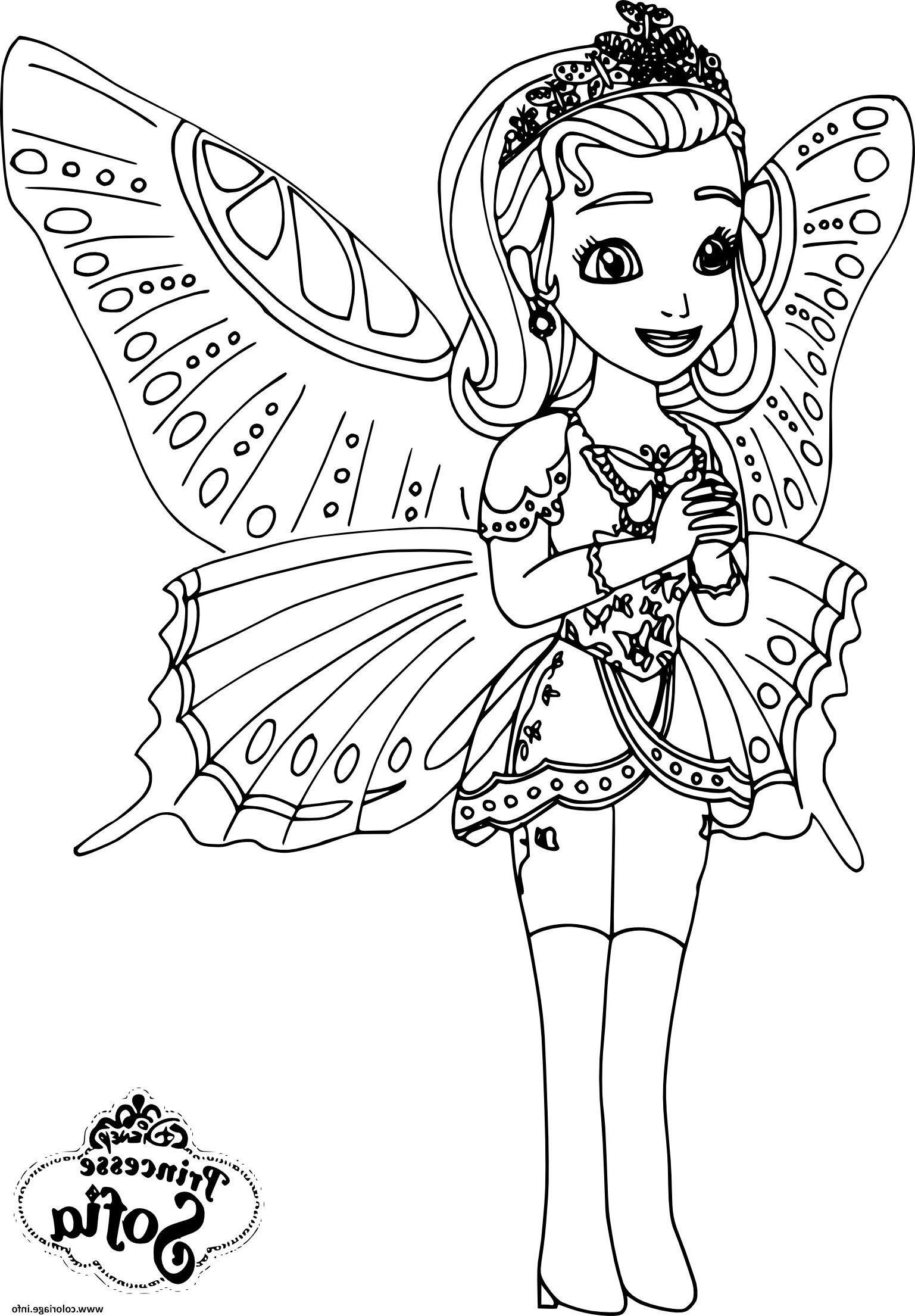 Princesse Sofia Papillon Coloriage