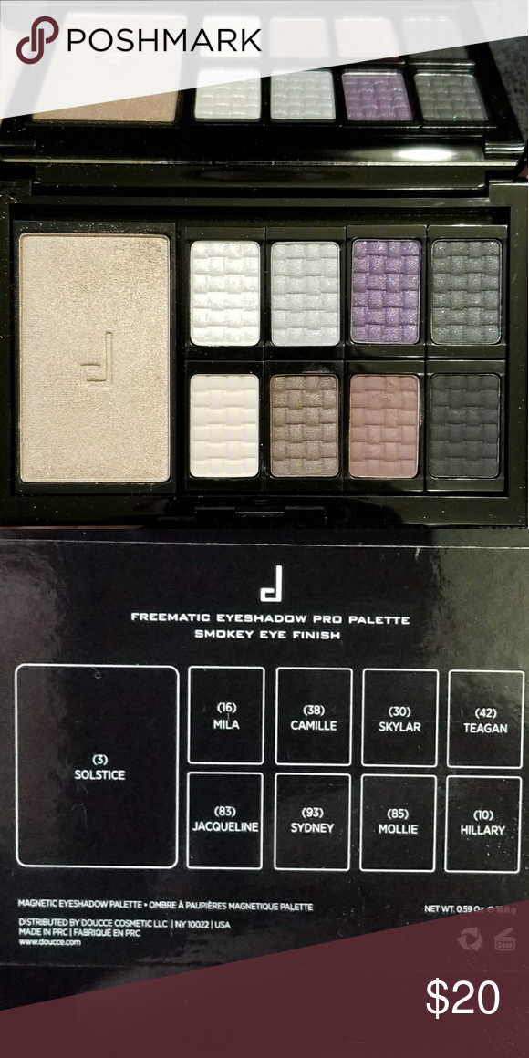 b1a9bd4fc12 Doucce Freematic Smokey Eye Pallette High quality pigmented eyeshadow with  a highlighter powder. Swiped the top just to see colors. Never used.