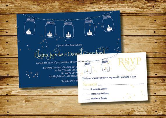 Mason Jar Fireflies Wedding Invitation and Response Card Vintage/Modern