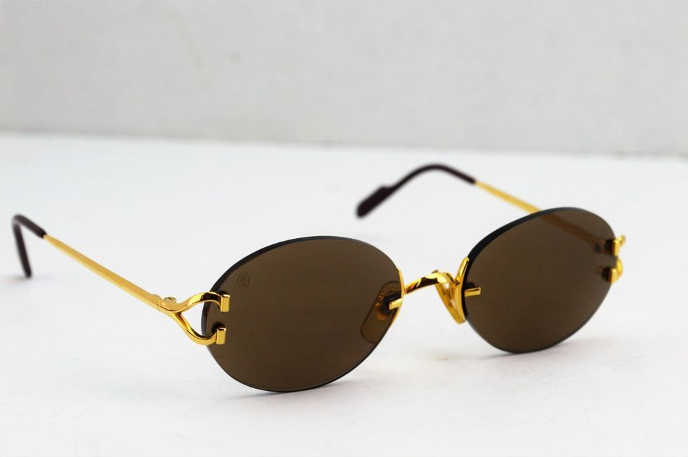 64f79a422d1d Auth Cartier C Decor Gold Plated Frame Brown Lens Sunglasses 130 18  Cartier   Oval