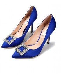 Royal blue satin bride and bridesmaid wedding shoes swarovski beaded WS-050
