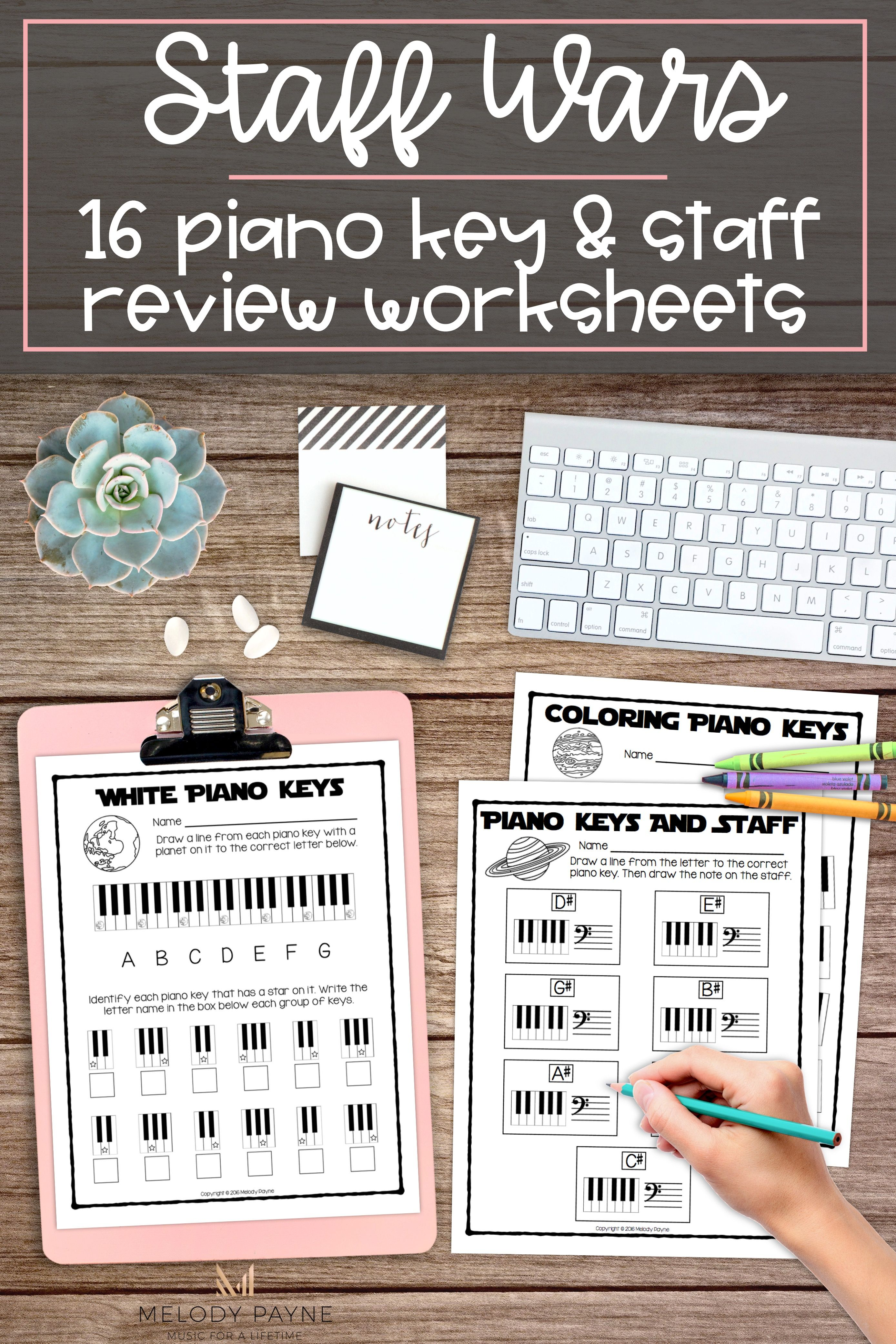 Staff Wars Piano Key Amp Staff Worksheets 16 No Prep Space