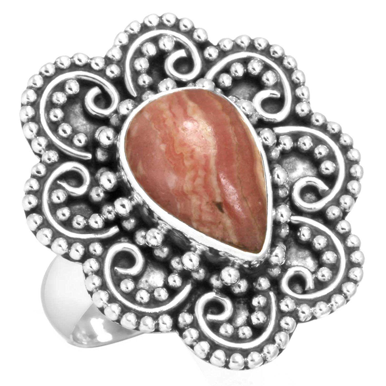 Natural Rhodochrosite - Argantina Gemstone Designer Jewelry Solid 925 Sterling Silver Ring Size O