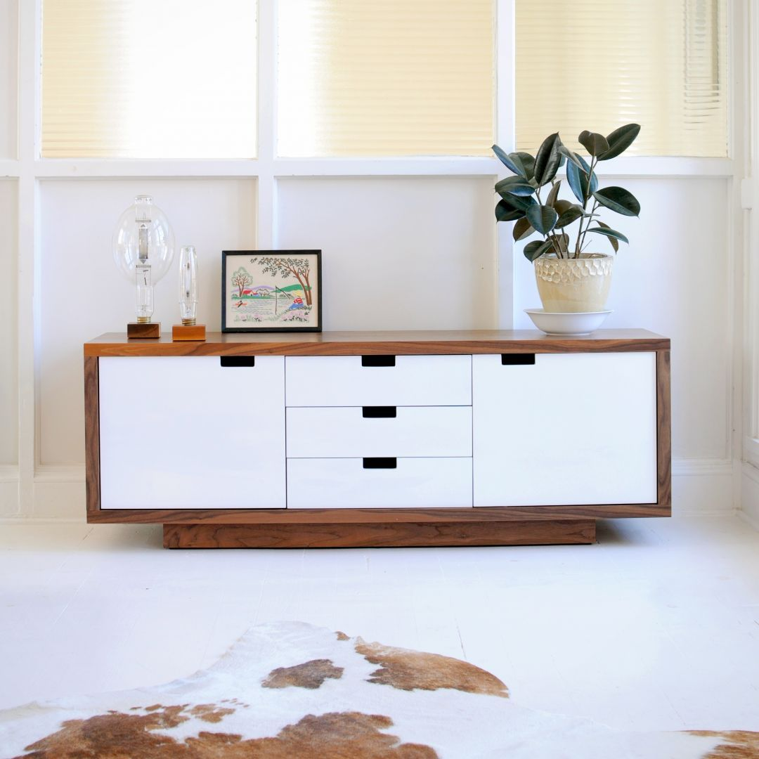The Versatile Gus Modern Wilson Cabinet Features A Walnut Cabinet,  Complemented By White Lacquered Doors And Drawers, Integrated Handles And  Self Closing ...