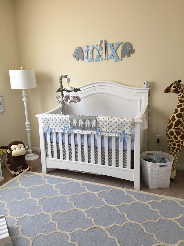 Jungle Animal Theme Nursery With Grey Elephant Crib