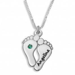 Mother's Footprint Name Necklace With Birthstone, Silver #mothersnecklace #footprints #personalized #namenecklace #babynamenecklace
