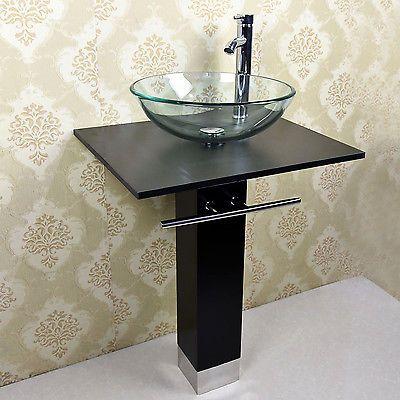 New Modern Bathroom Vanities Pedestal Glass Bowl Vessel Sink Combo W