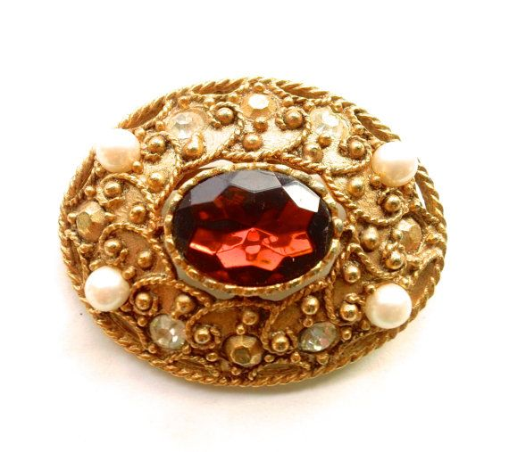 Vintage Topaz Rhinestone Brooch Faux Pearl by CrimsonVintique, $36.00