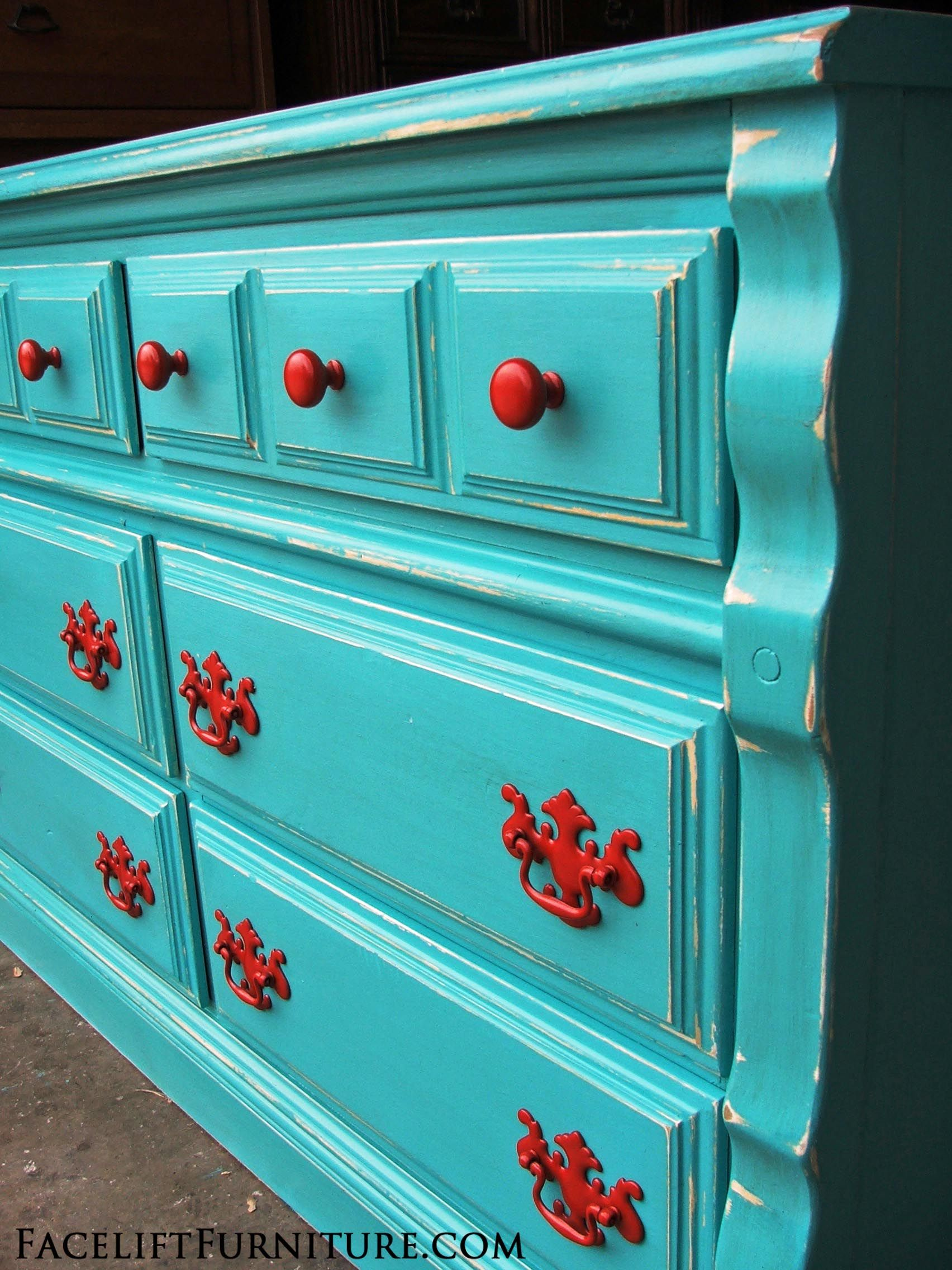 Paint colors for distressed furniture - Distressed Turquoise Dresser With Paprika Pulls