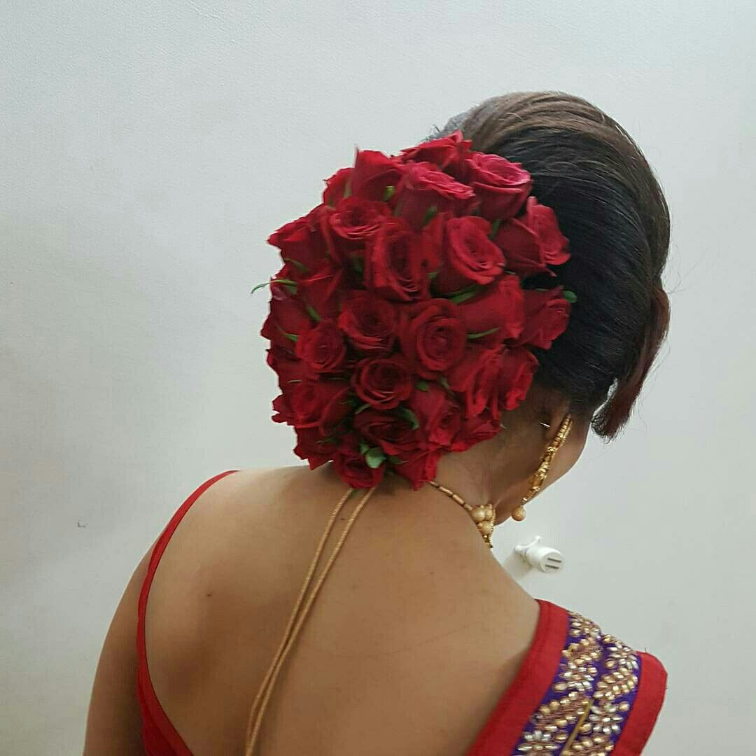 20 Wedding Hairstyles With Flowers: What A Beautiful Large Low Bun Covered With Flowers! Care
