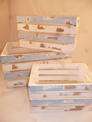Deko Kisten 3 er set holzkisten kiste shabby chic vintage used look dekokisten