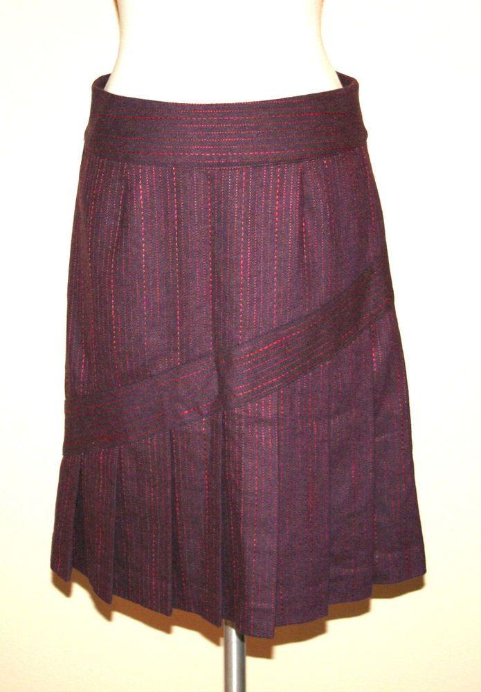 Original Penguin by Munsingwear Plum Wool Blend Pleated Skirt