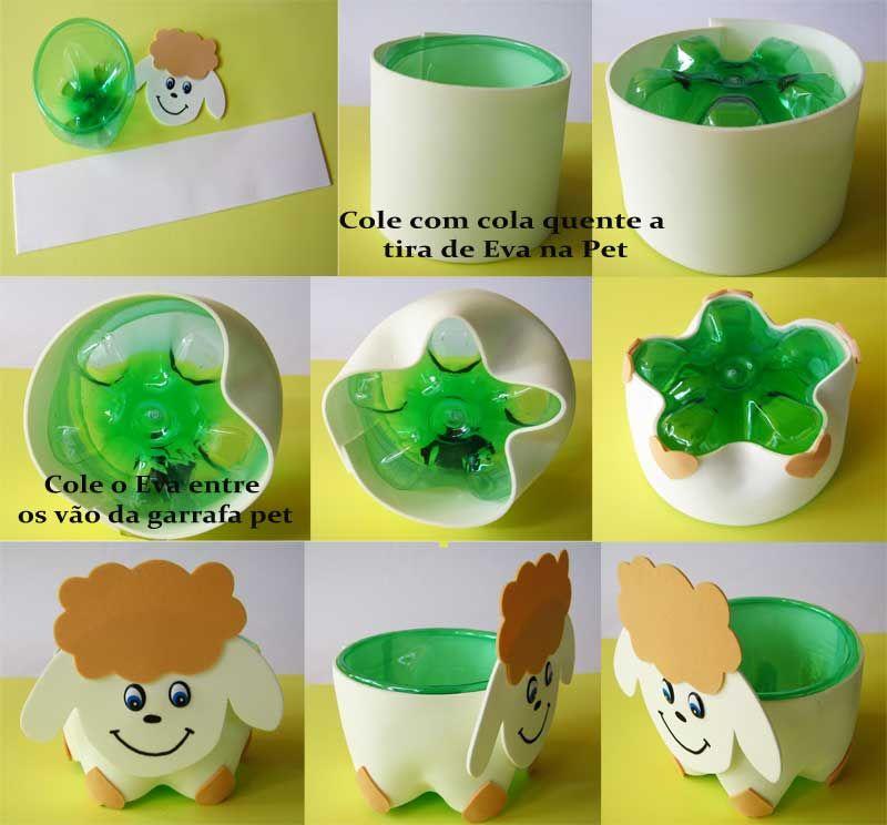 Artesanato Garrafa Pet Para Pascoa ~ Potinhos de garrafa pet e E V A para o dia das crianças Garrafas pet, Potes e Dia de