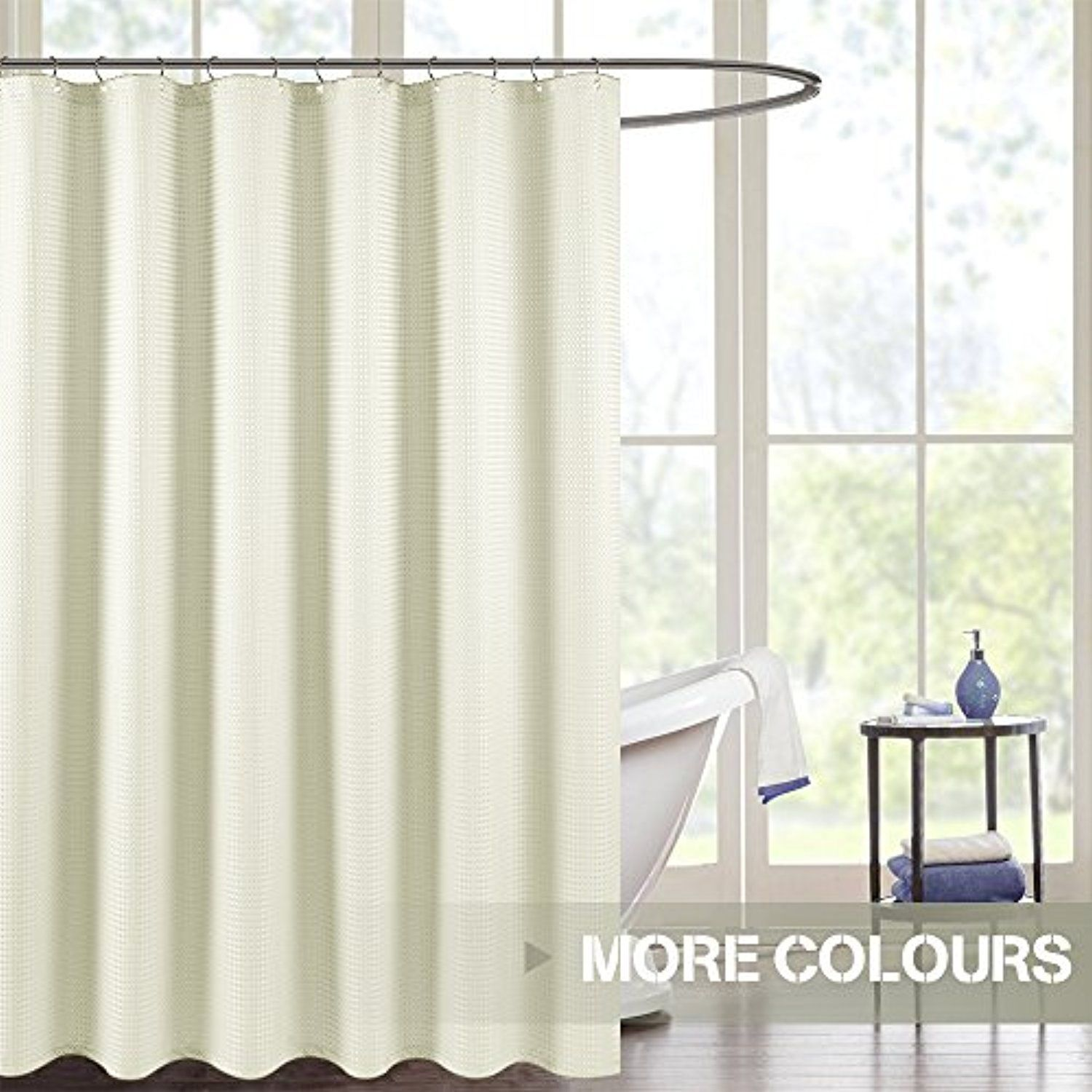 Water Repellent Shower Curtain Fabric, Ivory Waffle Weave With Rust  Resistant Metal Grommets