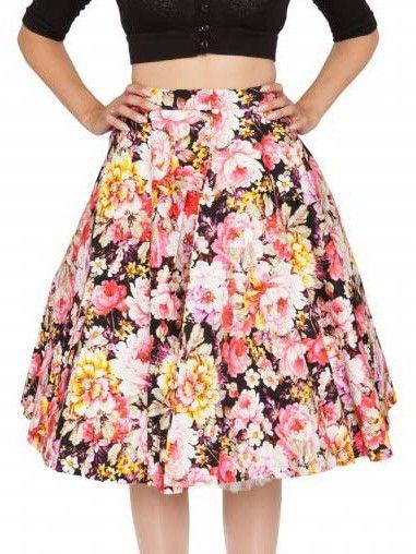 Black Flower Printed Audrey Hepburn Swing Pleated A-Line Tutu Skirt Plus Size