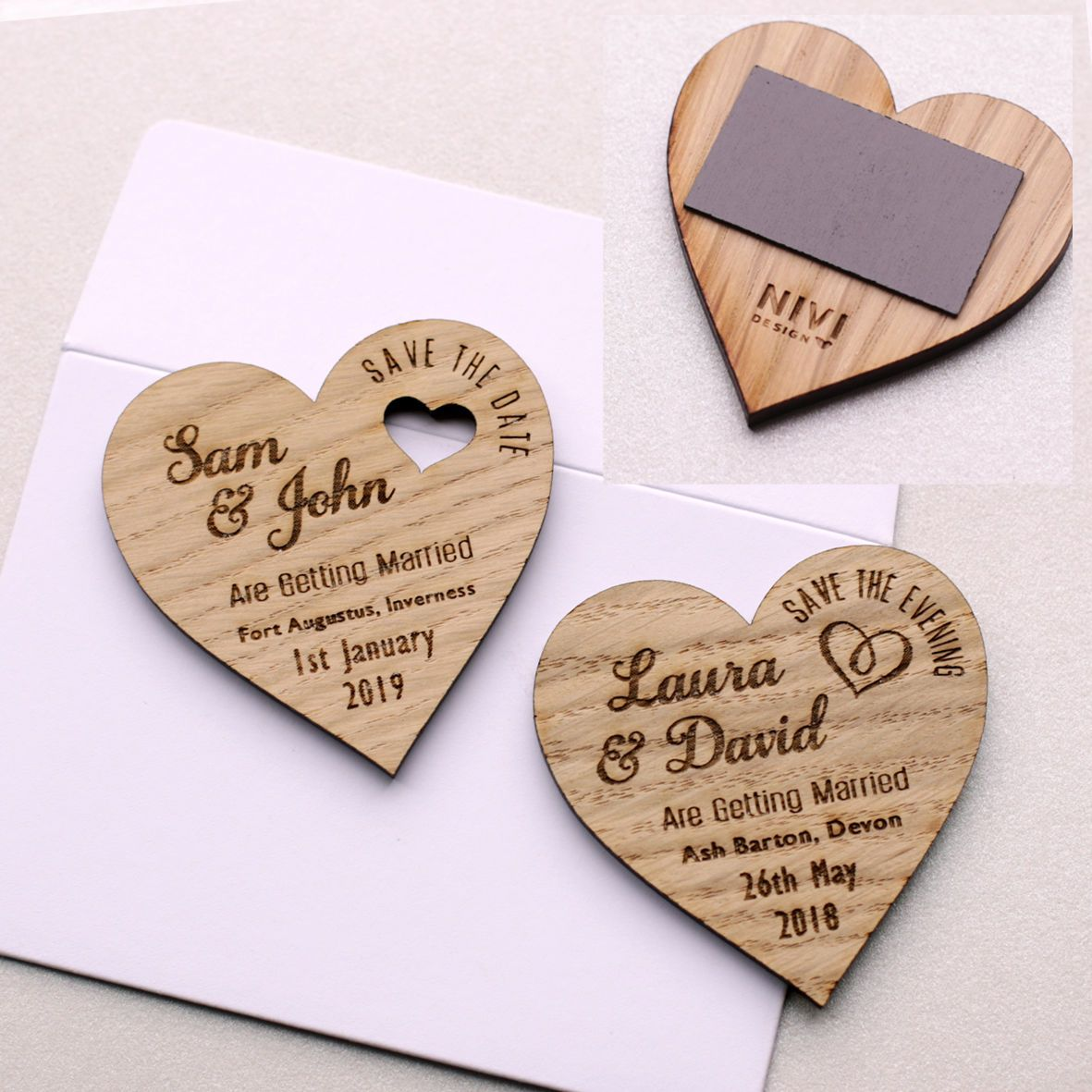 Save The Date Wood Heart Magnet Wooden Wedding Magnets Coloured ...