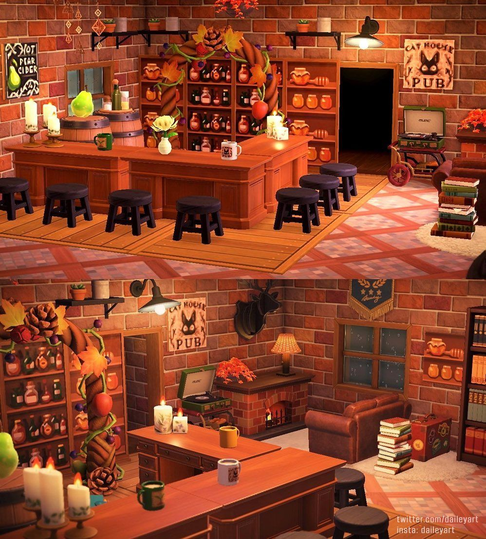 Animal Crossing Inspiration On Instagram The Cat House Pub A Walks Into A Bar Fi In 2020 Animal Crossing Animal Crossing Cafe Animal Crossing Cats