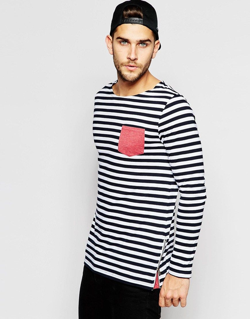 0607420b50a073 Image 1 of ASOS Stripe Longline Long Sleeve T-Shirt With Side Zip And  Contrast Panel
