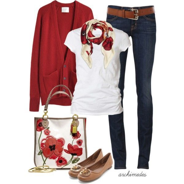 Blusa blanca con suu00e9ter rojo + jeans + flats cafu00e9s | Ropita u2665 | Pinterest | Pisos Amapolas y Jeans