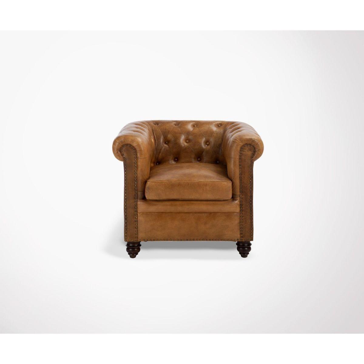 Chesterfield 1 Place Cuir Cognac London Marron Meubles Design