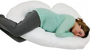 7. Blowout Bedding J Shaped Maternity Pillow