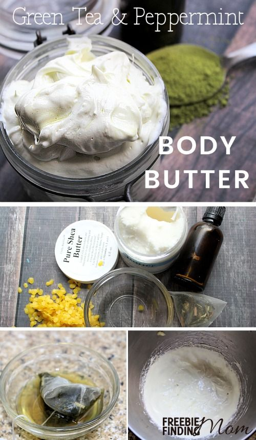 Has the winter weather left your skin rough, red and all around irritated? Then give your skin a hearty dose of moisture by whipping up this Homemade Peppermint Body Butter recipe. The smell of this luxurious body butter will make you think of the holidays every time you use it, but feel free to customize this DIY beauty product by substituting your favorite essential oils. This Whipped Peppermint & Green Tea Body Butter also makes great DIY gifts.