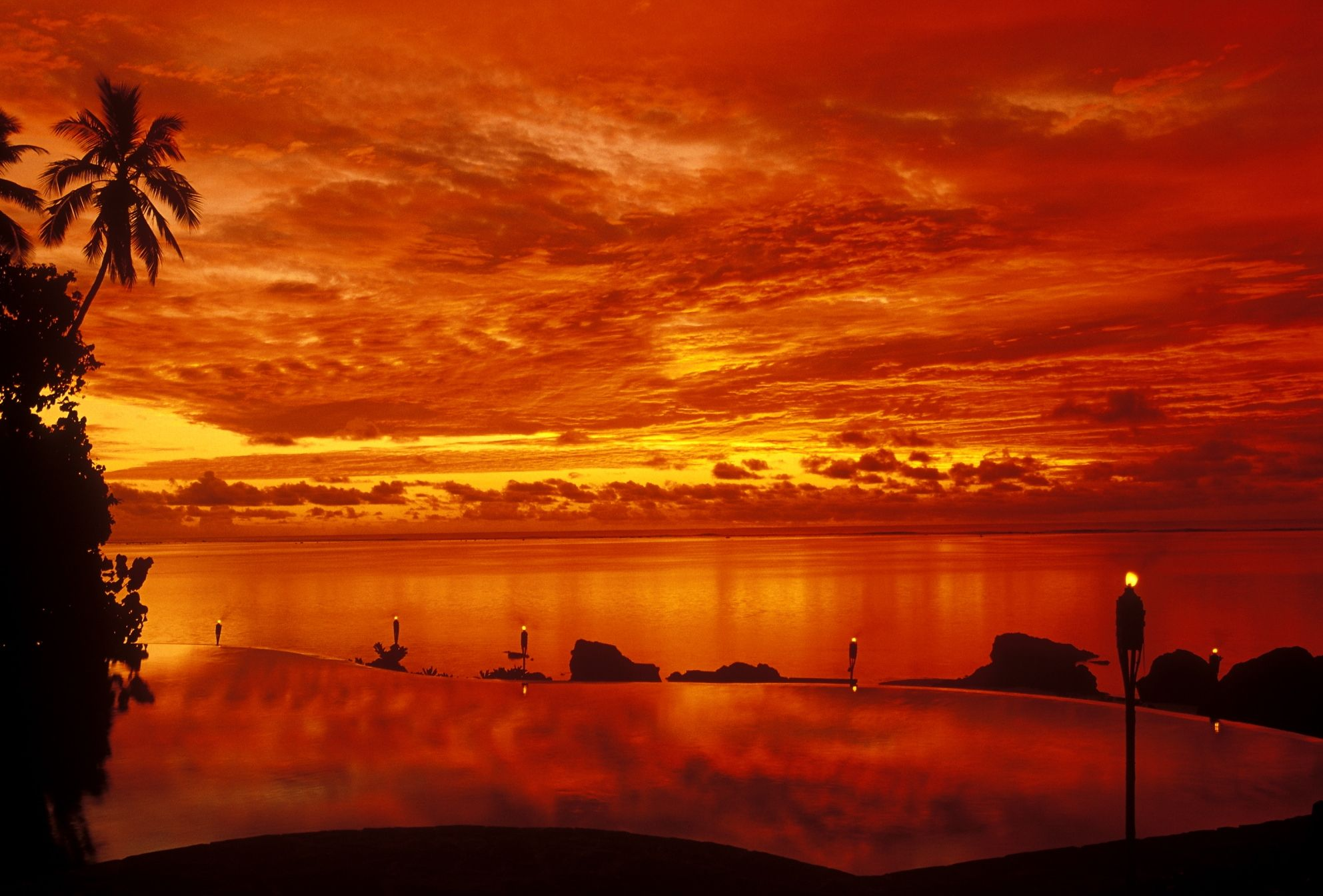Sunset At The Pool Pacific Resort Aitutaki Cook Islands