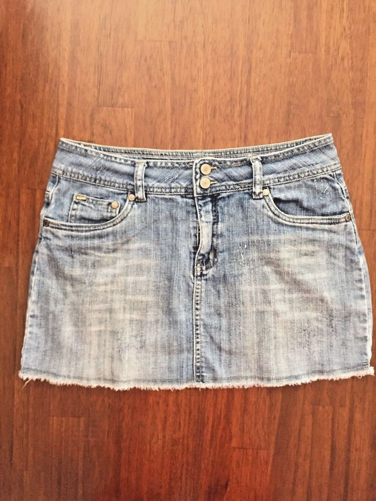 e5d7a5378c0e5d Limited Too Junior Womens Size 16 Regular blue denim Skirt Distressed  Pockets | eBay