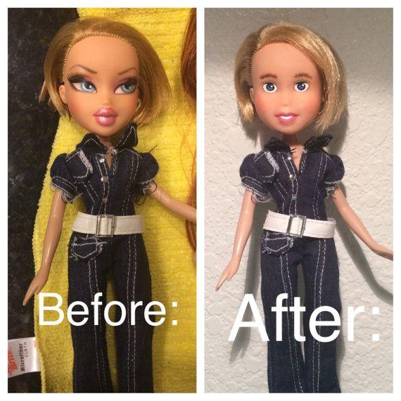 Repurposed Repainted Doll Pre Loved Bratz Doll Short Blond Hair Blue Eyes Quot Hannah Quot Bratz Doll Doll Painting Vinyl Dolls