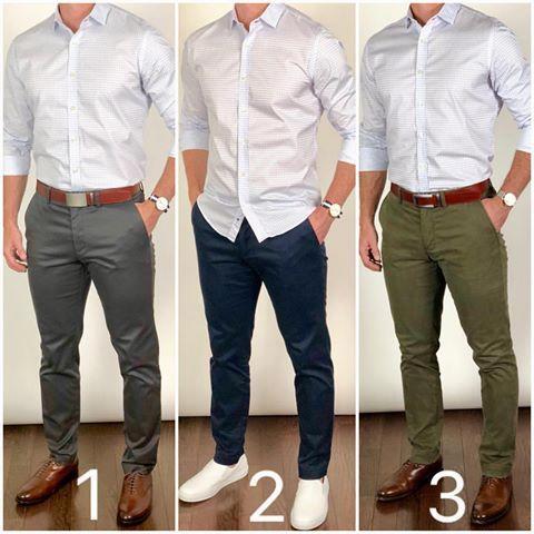 Chris Mehan En Instagram Cual Es Tu Favorito De Pantalones De Color Gris Azul O Verde Combinar Ropa Hombre Ropa Casual De Hombre Vestimenta Casual Hombres