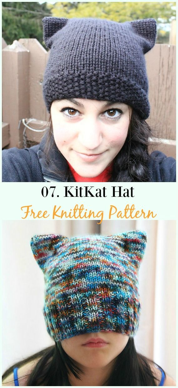 Kitty Cat Hat Knitting Patterns Size Baby to Adult Free ...