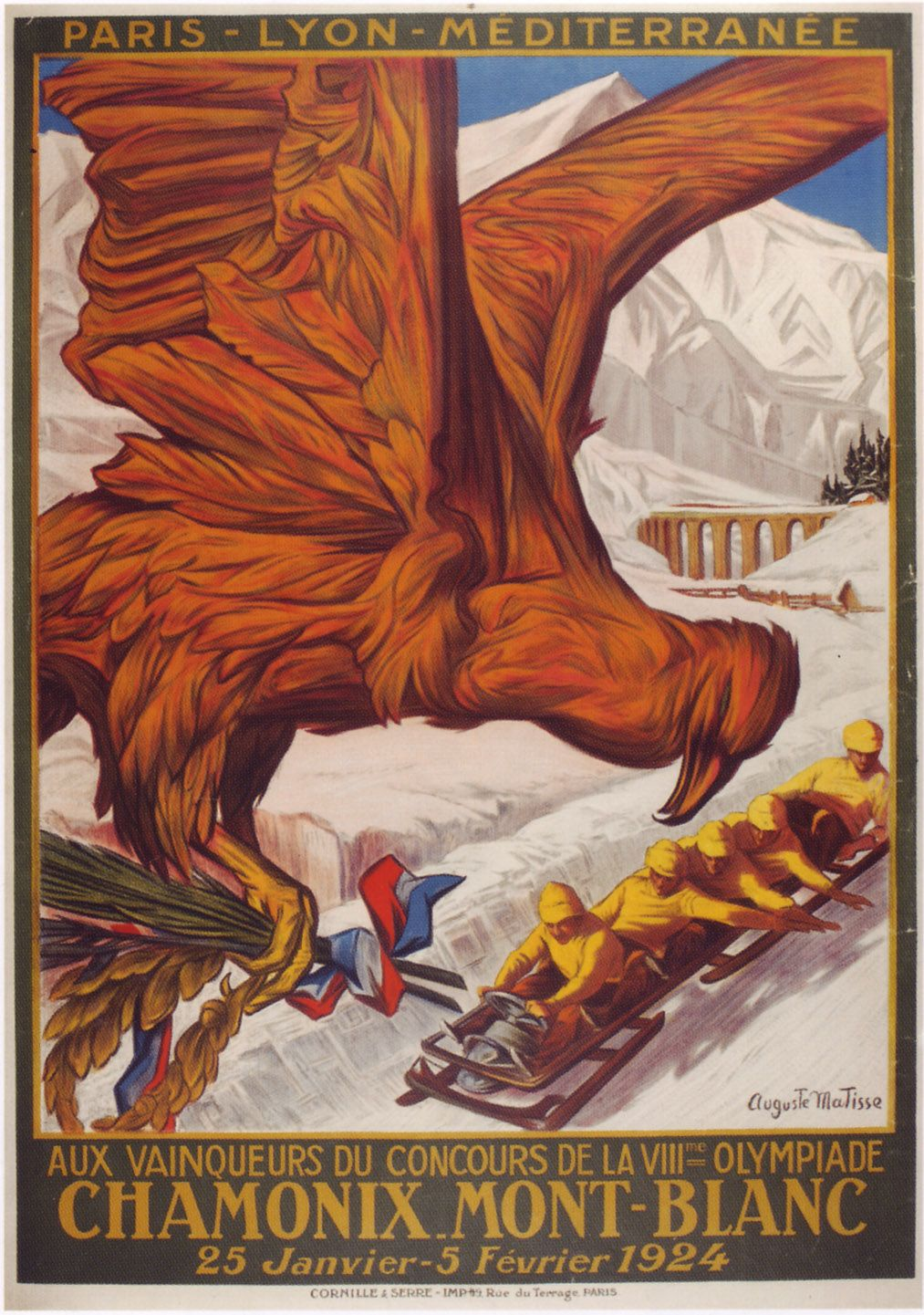 CHAMONIX 1924 Vintage French Ice Skating Poster Giclee Canvas Print 20x28